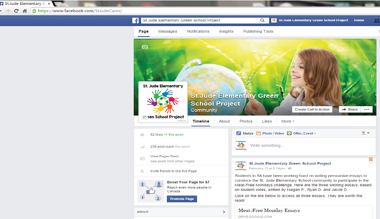 Green Project Facebook page screenshot
